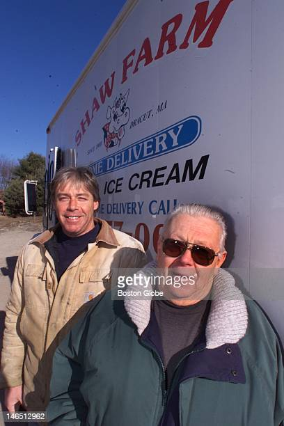 Walter Biedron who was a milkman for many years right and his son Walter Jr who also works at the Shaw Farm