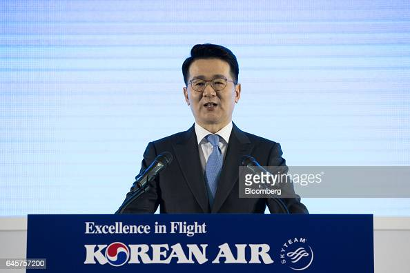 Walter Cho president of Korean Air Lines Co speaks during a media preview of the company's Boeing Co 7879 Dreamliner passenger aircraft at Incheon...