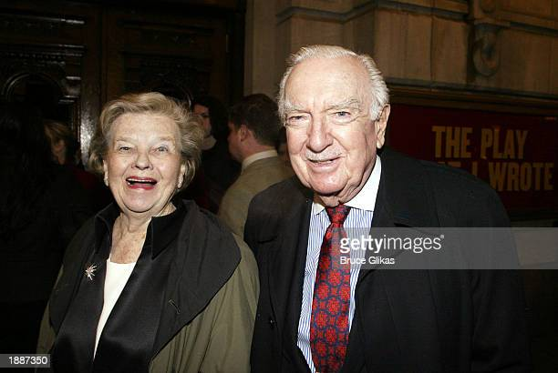 Walter Cronkite and his wife Betsy Maxwell Cronkite arrive at the opening night of 'The Play What I Wrote' at The Lyceum Theatre on March 30 2003 in...
