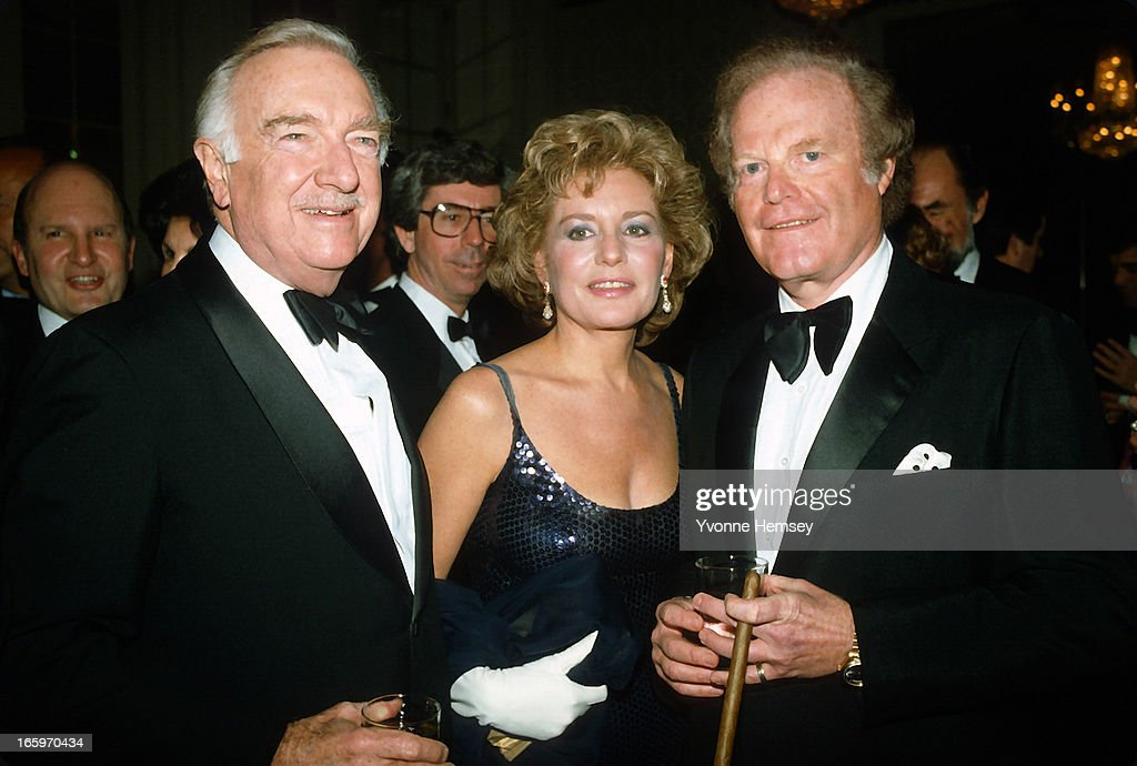 Walter Cronkite, Barbara Walters, and Roone Arledge pose for a photograph at an ABC Network event March 23, 1983 in New York City.