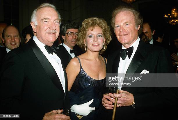 Walter Cronkite Barbara Walters and Roone Arledge pose for a photograph at an ABC Network event March 23 1983 in New York City