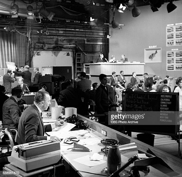 Walter Cronkite reporting during CBS News coverage of United States midterm elections Election 62 on Tuesday November 6 1962 Location is CBS News...