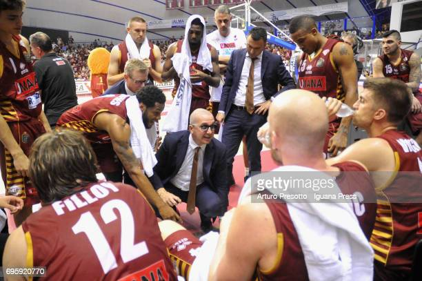 Walter De Raffaele head coach of Umana talks over during the match game 2 of play off final series of LBA Legabasket of Serie A1 between ReyerUmana...