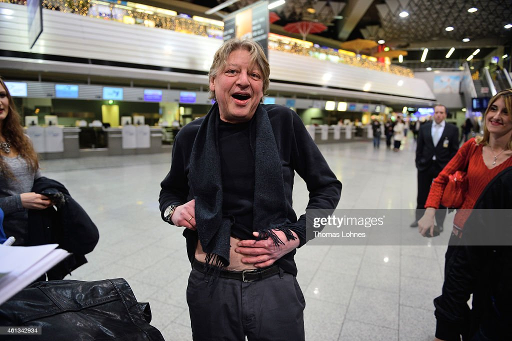 Walter Freiwald poses before the flight to Australia as a participant in the 2015 RTLTVShow 'Dschungelcamp Ich bin ein Star Holt mich hier raus' at...