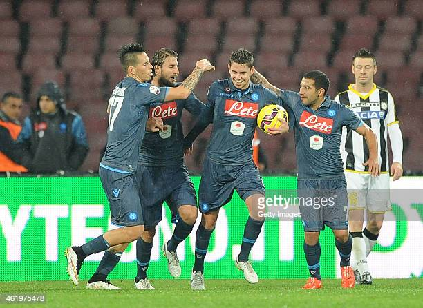Walter Gargano and Marek Hamsik of Napoli celebrate their first goal scored by Jorginho during the TIM CUP match between SSC Napoli and Udinese...