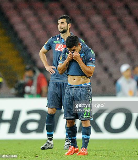 Walter Gargano and Raul Albiol of Napoli show their dejection during the UEFA Europa League Semi Final between SSC Napoli and FC Dnipro...