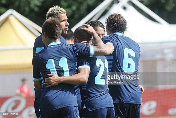 Walter Gargano Napoli celebrates after scoring his opening goal during the preseason friendly match between SSC Napoli and US Grosseto on July 23...