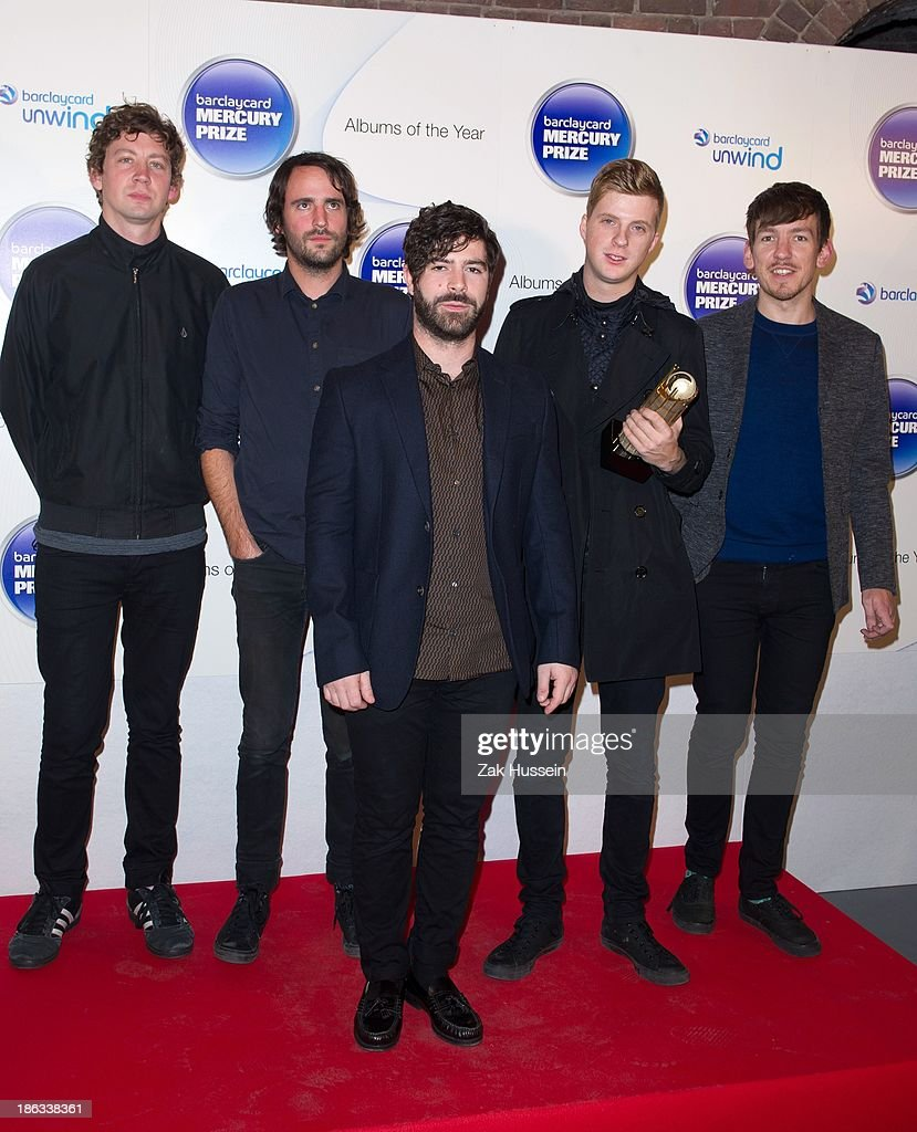 Walter Gerver, <a gi-track='captionPersonalityLinkClicked' href=/galleries/search?phrase=Yannis+Philippakis&family=editorial&specificpeople=4453909 ng-click='$event.stopPropagation()'>Yannis Philippakis</a>, <a gi-track='captionPersonalityLinkClicked' href=/galleries/search?phrase=Jimmy+Smith+-+Guitarist&family=editorial&specificpeople=15441164 ng-click='$event.stopPropagation()'>Jimmy Smith</a>, Jack Bevan and Edwin Congreave of Foals attend the Barclaycard Mercury Prize at The Roundhouse on October 30, 2013 in London, England.