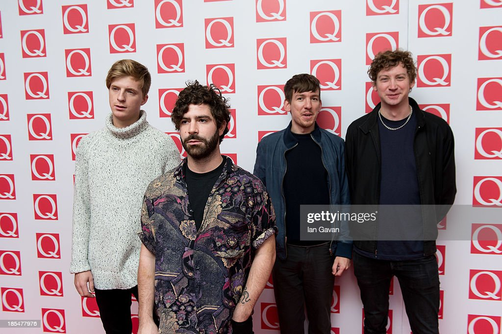 Walter Gervers, Jack Bevan, <a gi-track='captionPersonalityLinkClicked' href=/galleries/search?phrase=Yannis+Philippakis&family=editorial&specificpeople=4453909 ng-click='$event.stopPropagation()'>Yannis Philippakis</a> and Edwin Congreave of Foals attends The Q Awards at The Grosvenor House Hotel on October 21, 2013 in London, England.