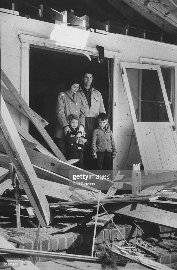 Walter Gregg with his family on the farm that was hit by the A-bomb that was accidentally dropped by the US Armed Forces.