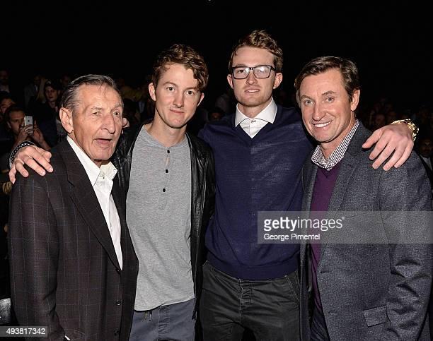 Walter Gretzky Ty Gretzky Trevor Gretzky and NHL Legend Wayne Gretzky attend the No 99 Wayne Gretzky 2016 Spring Collection presentation during World...