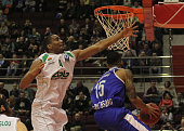 Walter Hodge of Zenit SaintPetersburg in action against James White of of Unics Kazan during the Eurocup Last 32 Round 4 basketball match between...