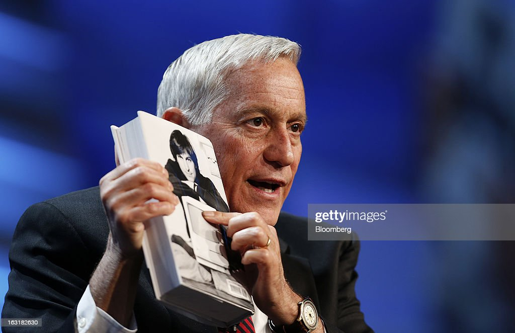 Walter Isaacson, chief executive officer and president of Aspen Institute, talks about his book 'Steve Jobs' during the 2013 IHS CERAWeek conference in Houston, Texas, U.S., on Tuesday, March 5, 2013. IHS CERAWeek is a gathering of senior energy decision-makers from around the world and provides presentations from senior industry executives, government officials and thought leaders on the changing energy playing field. Photographer: Aaron M. Sprecher/Bloomberg via Getty Images