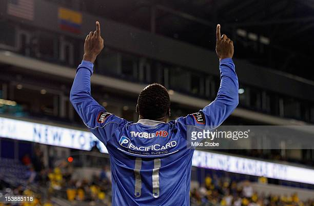 Walter Iza of CS Emelec celebrates after scoring a second half goal against Barcelona SC during a International Friendly at Red Bull Arena on October...