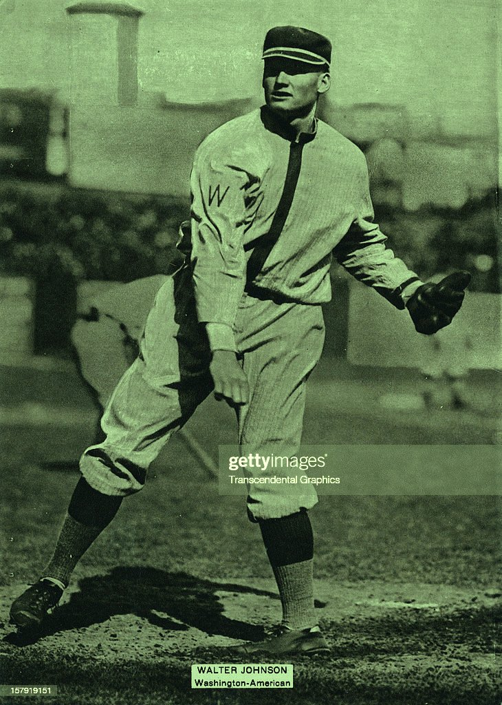 Walter Johnson of the Washington Senators appears on a Baseball Magazine premium issued in July of 1915 in New York City