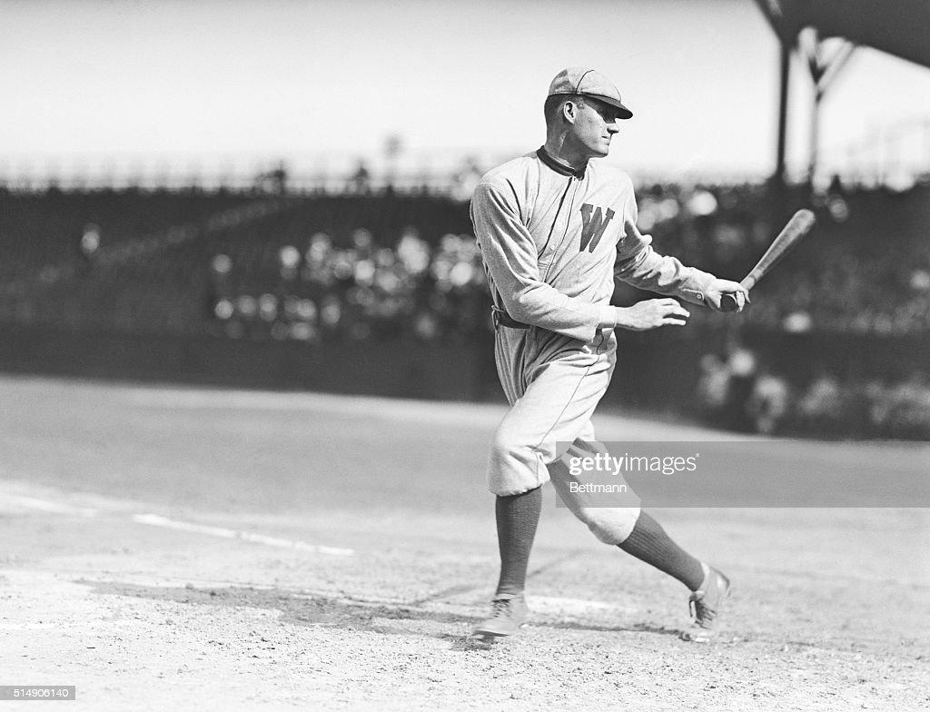 Walter Johnson of the Washington Senators is shown batting Undated photograph