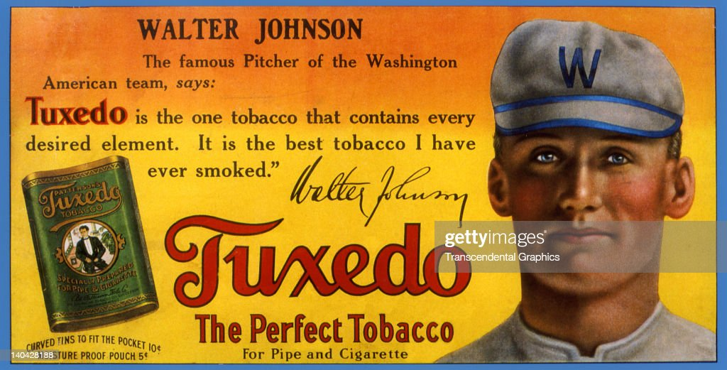 Walter Johnson sells Tuxedo tobacco on this trolley car sign printed in New York City circa 1915