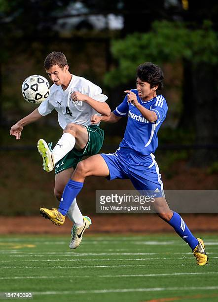 Walter Johnson's Adam El Hamti left beats Churchill's Nathan Ferdowski to the ball during the game at Walter Johnson High School on Tuesday October...