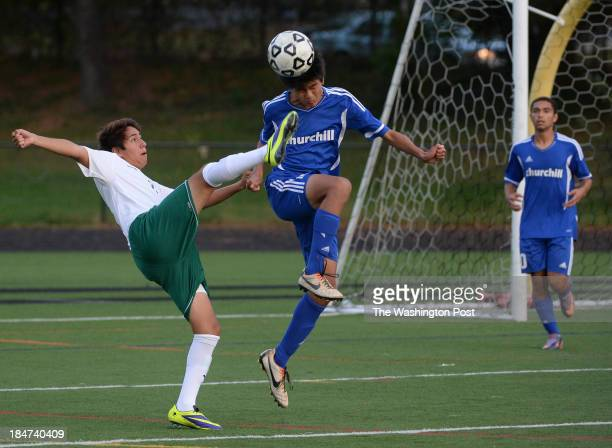 Walter Johnson's Nicolas Arellano kicks high as he tries to get the ball away from Churchill's Jonathan Lee during the game at Walter Johnson High...