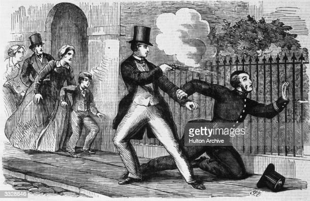 Walter Jones fatally shooting Sergeant Drew at Worcester Original Publication Illustrated Police News pub 1864