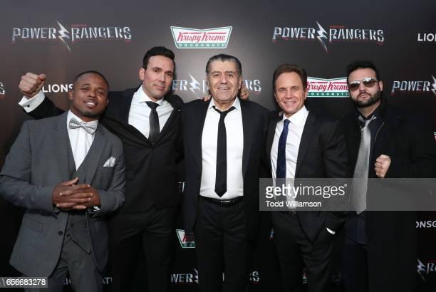Walter Jones Jason David Frank Producer Haim Saban actors David Yost and Austin St John at The LA Premiere of Saban's Power Rangers presented by...