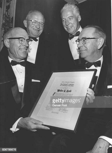 Walter K Koch Right Receives Citation From left are Hudson Moore Jr who made presentation Aksel Nielsen dinner chairman and VJ Skutt speaker Credit...