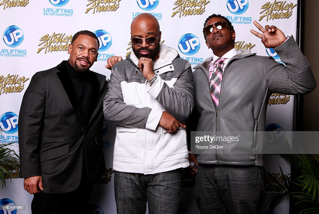 Walter Kearney, Jay Moss, and Paul Allen backstage at the 2014 Stellar Awards at Nashville Municipal Auditorium on January 18, 2014 in Nashville, Tennessee.