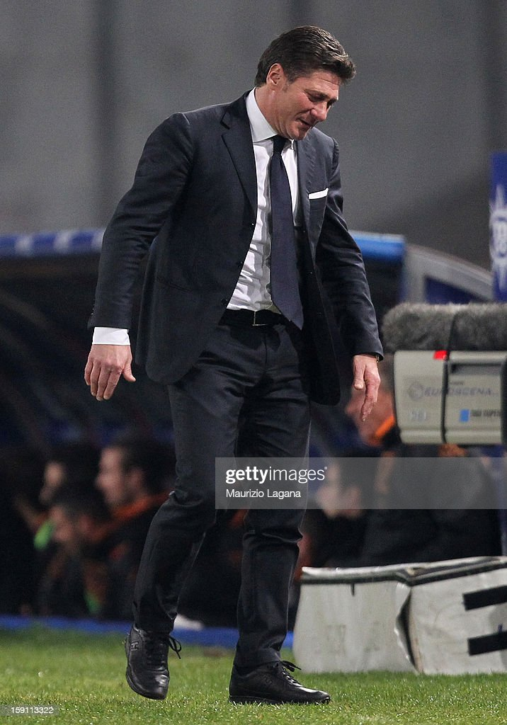 Walter Mazzarri, head coach of Napoli during the Serie A match between SSC Napoli and AS Roma at Stadio San Paolo on January 6, 2013 in Naples, Italy.