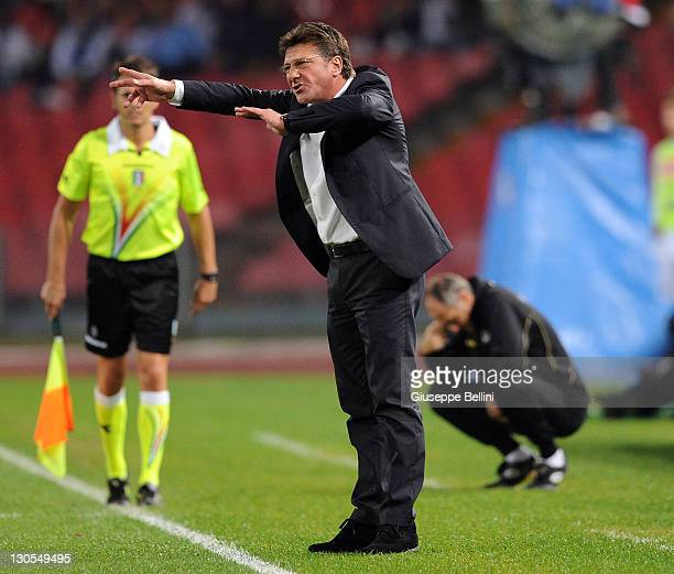 Walter Mazzarri head coach of Napoli gestures during the Serie A match between SSC Napoli and Udinese Calcio at Stadio San Paolo on October 26 2011...