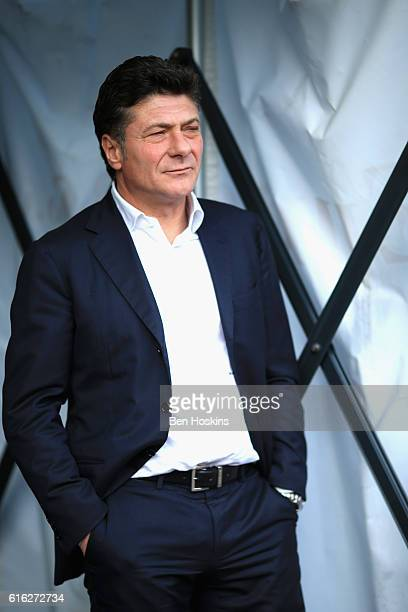 Walter Mazzarri Manager of Watford arrives at the stadiium prior to kick off during the Premier League match between Swansea City and Watford at the...