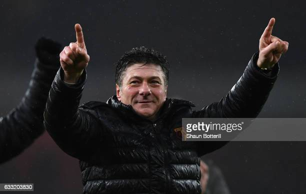 Walter Mazzarri Manager of Watford celebrates his side's 21 win in the Premier League match between Arsenal and Watford at Emirates Stadium on...