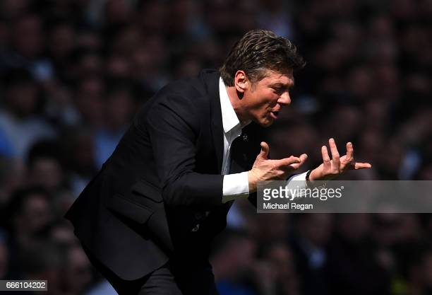 Walter Mazzarri Manager of Watford gives his team instructions during the Premier League match between Tottenham Hotspur and Watford at White Hart...