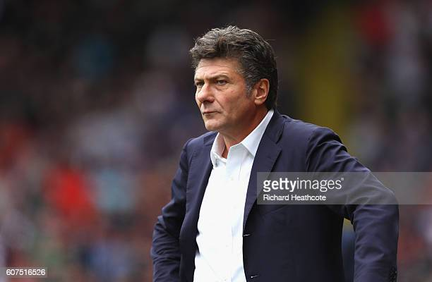 Walter Mazzarri Manager of Watford looks on during the Premier League match between Watford and Manchester United at Vicarage Road on September 18...