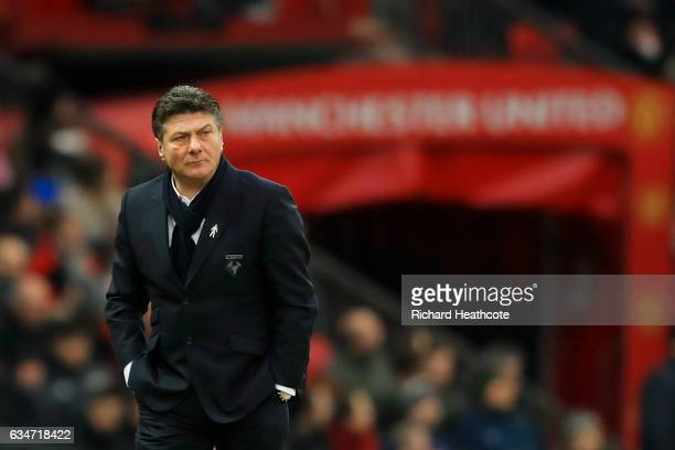 Walter Mazzarri Manager of Watford looks on during the Premier League match between Manchester United and Watford at Old Trafford on February 11 2017...