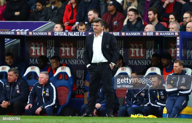 Walter Mazzarri Manager of Watford looks on during the Premier League match between Crystal Palace and Watford at Selhurst Park on March 18 2017 in...
