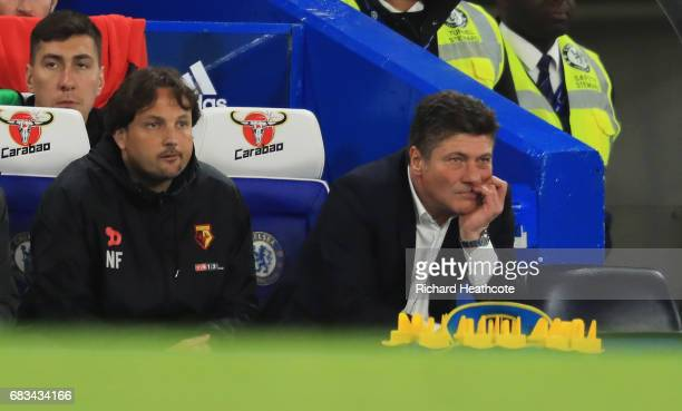 Walter Mazzarri Manager of Watford looks on during the Premier League match between Chelsea and Watford at Stamford Bridge on May 15 2017 in London...