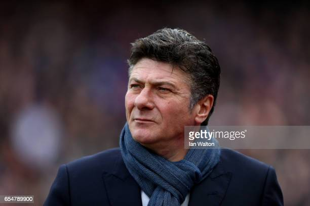 Walter Mazzarri Manager of Watford looks on prior to the Premier League match between Crystal Palace and Watford at Selhurst Park on March 18 2017 in...