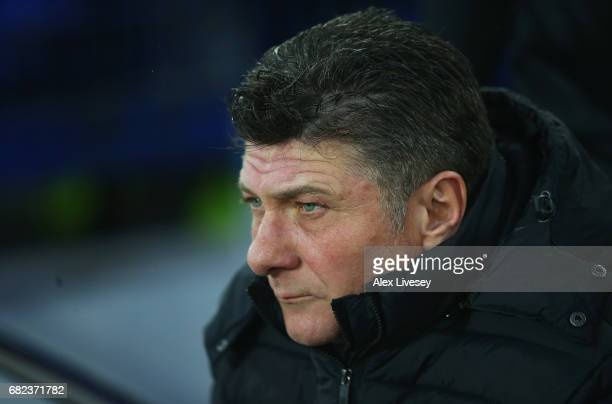 Walter Mazzarri Manager of Watford looks on prior to the Premier League match between Everton and Watford at Goodison Park on May 12 2017 in...
