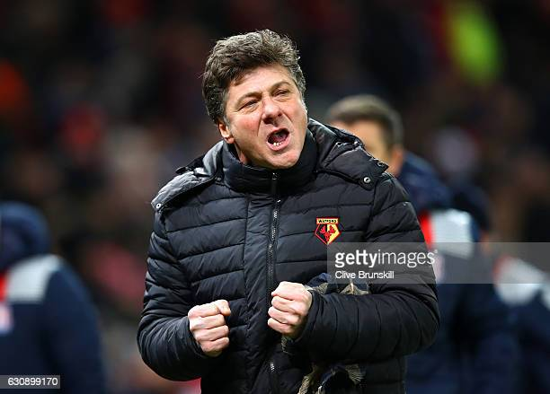 Walter Mazzarri Manager of Watford reacts during the Premier League match between Stoke City and Watford at Bet365 Stadium on January 3 2017 in Stoke...