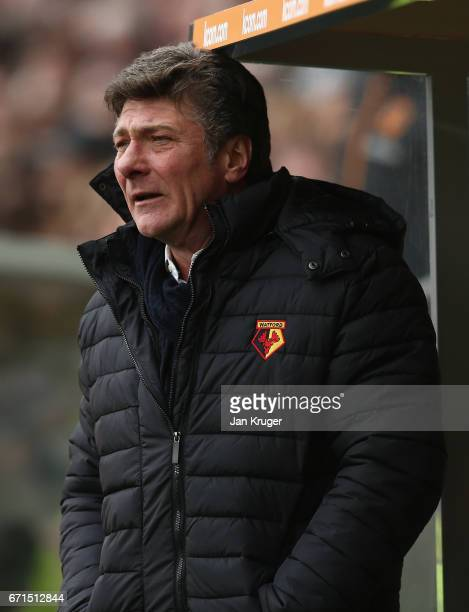 Walter Mazzarri Manager of Watford reacts during the Premier League match between Hull City and Watford at the KCOM Stadium on April 22 2017 in Hull...
