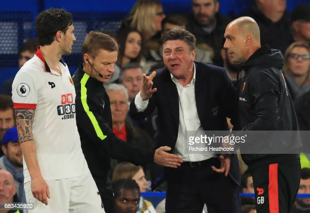 Walter Mazzarri Manager of Watford reacts during the Premier League match between Chelsea and Watford at Stamford Bridge on May 15 2017 in London...
