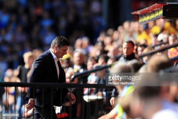 Walter Mazzarri Manager of Watford reacts during the Premier League match between Watford and Manchester City at Vicarage Road on May 21 2017 in...