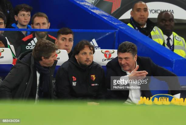 Walter Mazzarri Manager of Watford speaks to his staff during the Premier League match between Chelsea and Watford at Stamford Bridge on May 15 2017...