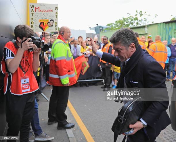 Walter Mazzarri Manager of Watord arrives at the stadium prior to the Premier League match between Watford and Manchester City at Vicarage Road on...