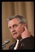 Walter Mondale seeking the 1984 Democratic nomination for President addresses the annual meeting of the American Society of Newspaper Editors