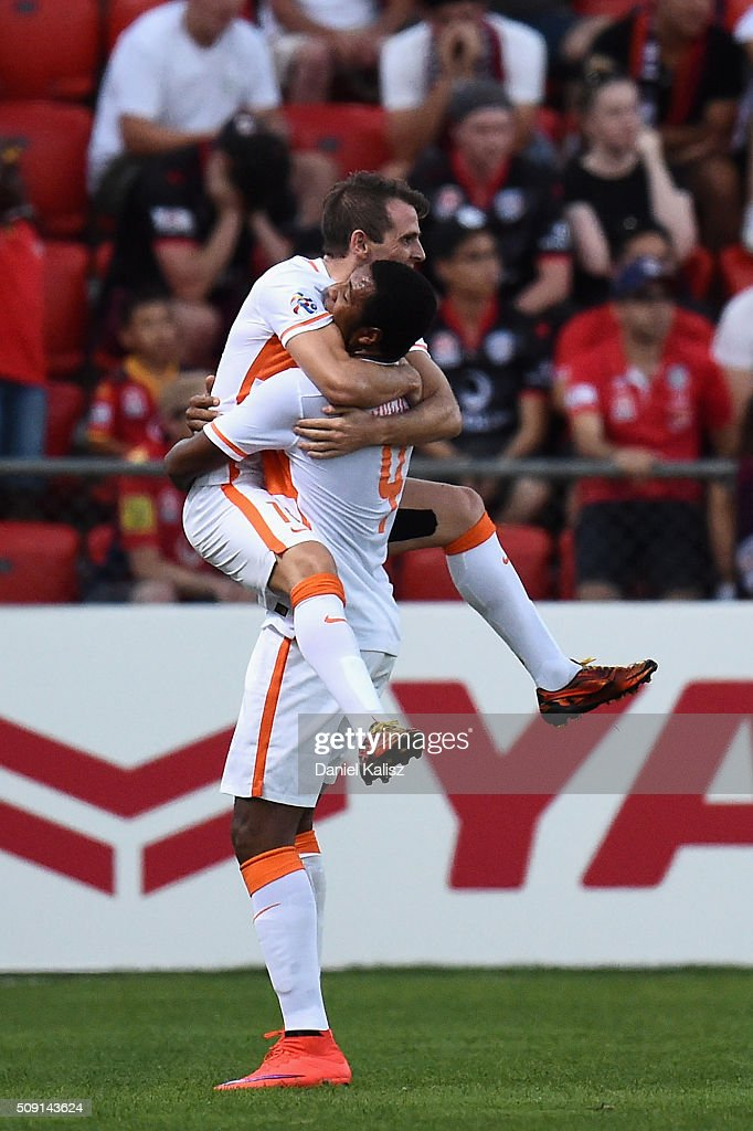 <a gi-track='captionPersonalityLinkClicked' href=/galleries/search?phrase=Walter+Montillo&family=editorial&specificpeople=2477543 ng-click='$event.stopPropagation()'>Walter Montillo</a> of Shandong Luneng reacts after scoring a goal during the AFC Champions League playoff match between Adelaide United and Shandong Luneng at Coopers Stadium on February 9, 2016 in Adelaide, Australia.
