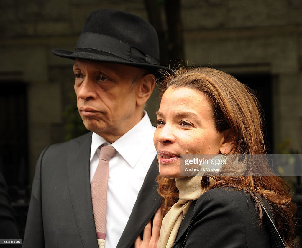 Walter Mosely and Jenny Lumet attend funeral services for entertainer Lena Horne at St. Ignatius Loyola Church on May 14, 2010 in New York City.