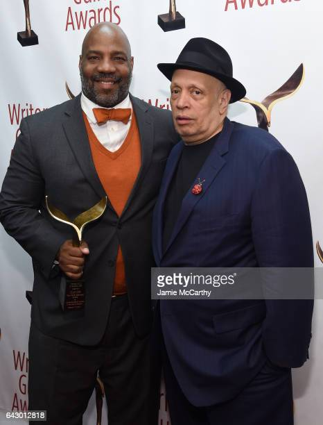 Walter Mosley poses backstage with award during 69th Writers Guild Awards New York Ceremony at Edison Ballroom on February 19 2017 in New York City