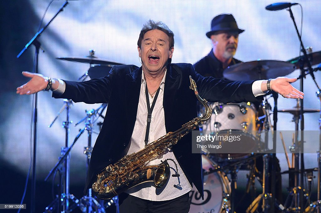 Walter Parazaider of Chicago performs at the 31st Annual Rock And Roll Hall Of Fame Induction Ceremony at Barclays Center on April 8, 2016 in New York City.