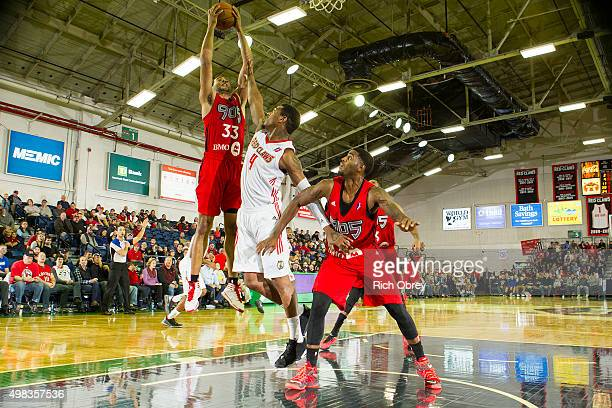 Walter Pitchford of the Raptors 905 grabs a rebound over Coty Clarke of the Maine Red Claws on November 22 2015 at the Portland Expo in Portland...